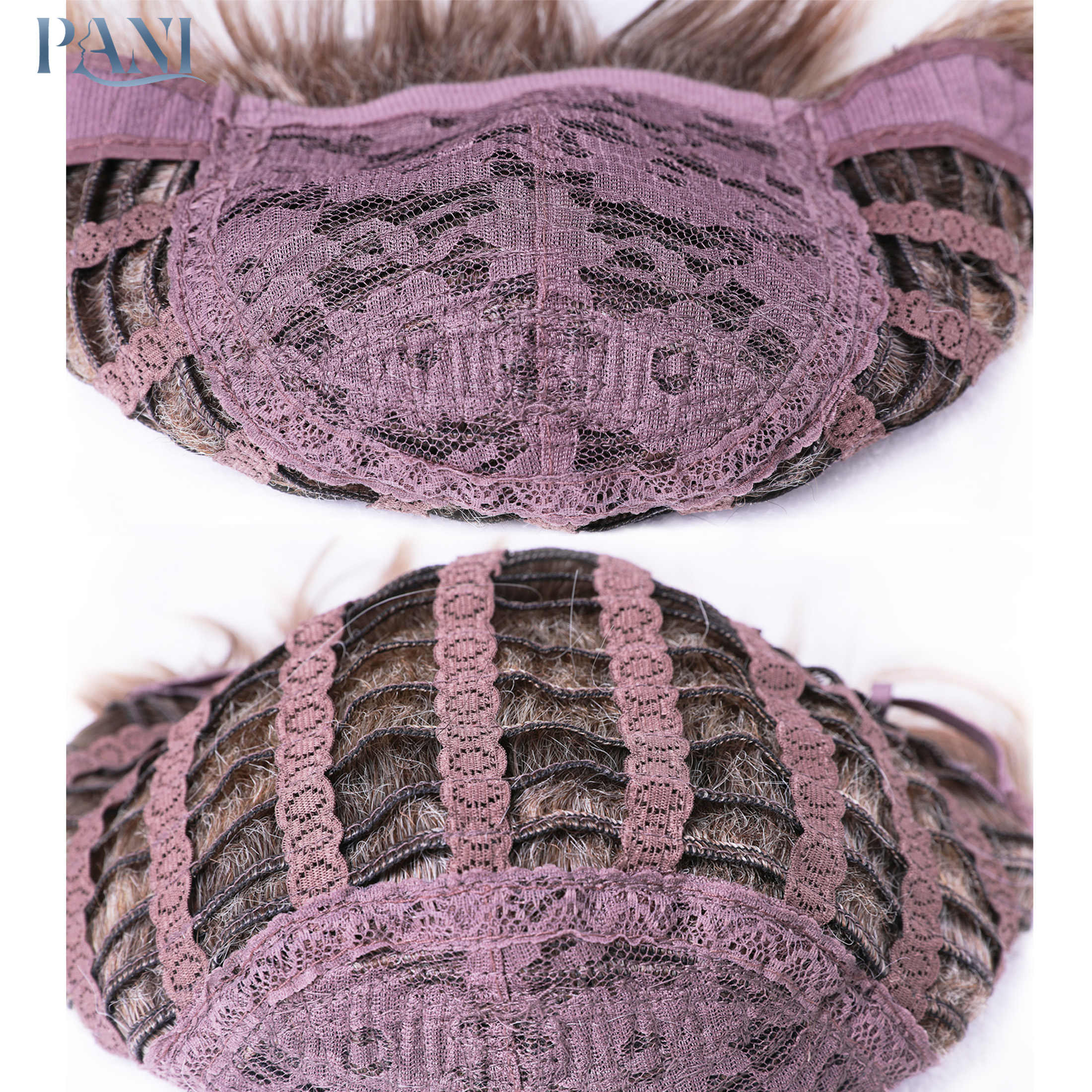PANI короткие Синтетические Полные парики для женщин, блонд, парик, Омбре, коричневый парик, Wth блонд, подчеркивает естественные волосы с челкой, дешевые парики