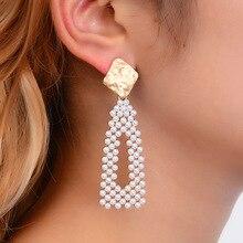 Korean Version of Dongdaemun Earrings Sweet Geometric Earrings Hollow Pearl Earrings Girl Heart Bead Simple Long Earrings 2018 the new heart pearl pendant fashion simple earrings long pearl heart shaped earrings girl party accessories