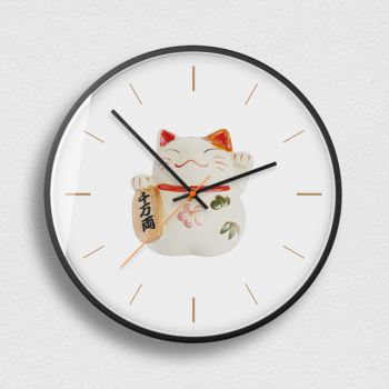 Lucky Cat 3D Wall Clock Metal Silent Movement Professional  Wall Clock Large Size For Home Decoration Duvar Saati For Living Roo