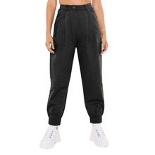 Fashion Solid Color High Waist Harem Pants Women Loose Straight Trouser Harem Pants Casual Loose Streetwear Pants#A3 cheap feitong COTTON Polyester Ankle-Length Pants 0227 Flat NONE Broadcloth Button Fly