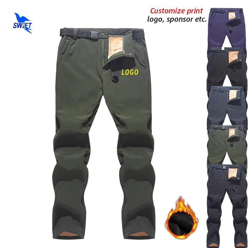 2020 Long Fleece Warm Outdoor Waterproof Softshell Pants Men Fishing Camping Trekking Skiing Hiking Trousers Clothing Customize