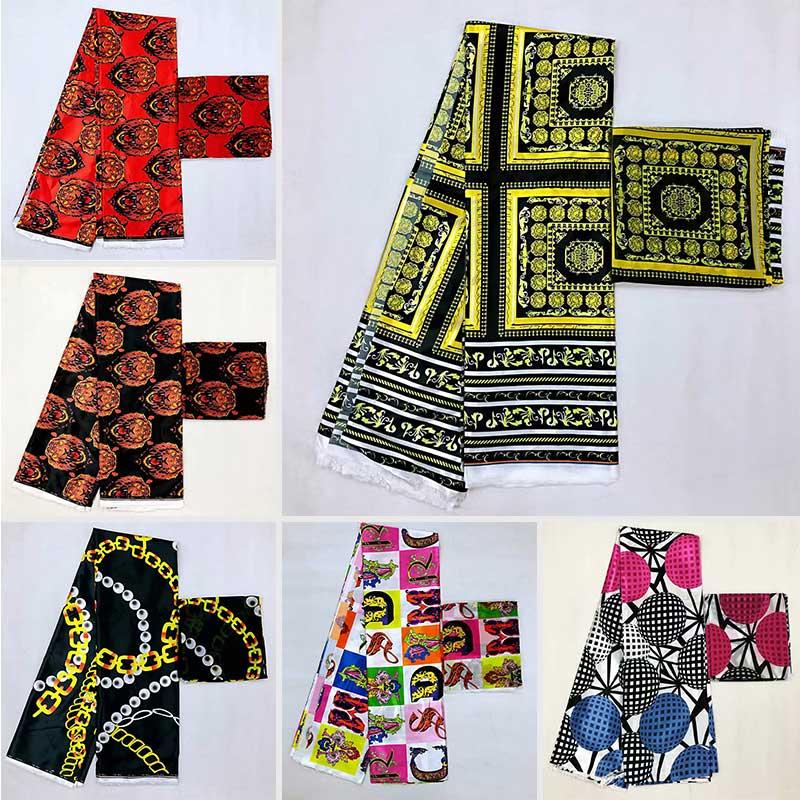 Offre spéciale tissu de soie de satin de Style Gahna avec la conception africaine de cire de ruban d'organza! MA3712