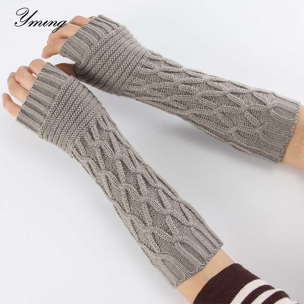 YMING Women Semi-Long Autumn Winter Knitted Gloves Half Fingered Gloves Hand Warmer Girls Rhombus Soft Mitten Arm Sleeves Glove