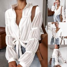 Women's Blouse Buttons Lantern Sleeve Female Blouses Fold Bow Bandage Temperamental Women's Shirt Casual Top blusas mujer 8(China)