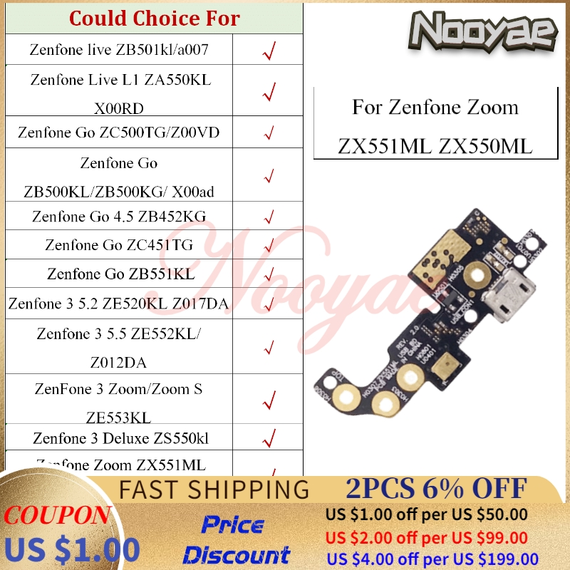 For Asus <font><b>Zenfone</b></font> <font><b>GO</b></font> Live L1 3 Zoom Deluxe ZC451TG ZB452KG ZB500KL <font><b>ZB551KL</b></font> <font><b>USB</b></font> Dock Charging Port Charger Flex Cable MIC Board image