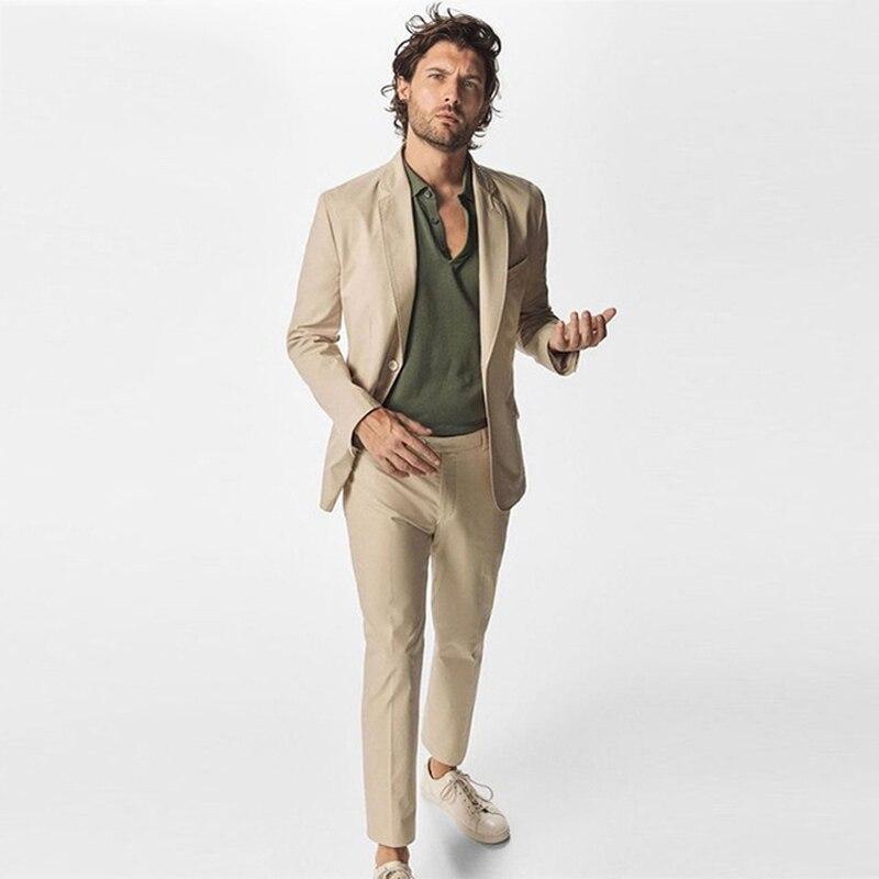 Slim Fit Casual Men Suits Blazer Wedding Tuxedos Groom Wear 2 Pieces (Jacket+Pants) Terno Groomsman Suits Costume Homme