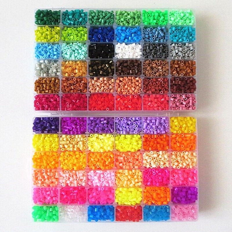 48 Colors Box Set Hama Beads TOYS 5mm Fuse Educational Kids Diy Toys Fuse Beads Plus Size Pegboard Sheets Ironing Paper(China)