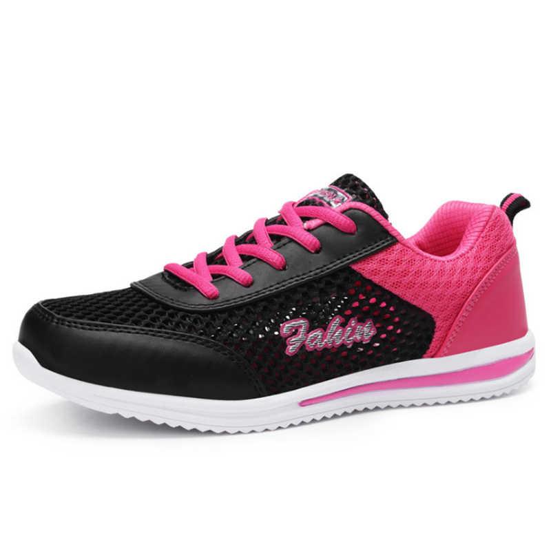 女性夏のランニングスニーカー軽量屋外ジョギング安い quazapatos パラコレール女性の通気性のスポーツの靴