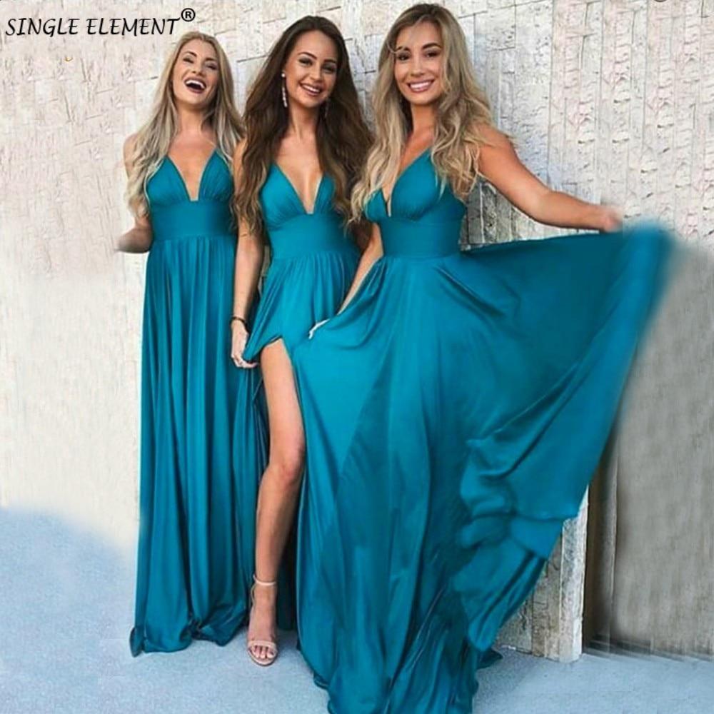SINGLE ELEMENT Sexy Slit Blue Long Deep V-Neck Maid of Honor   Bridesmaid     Dresses