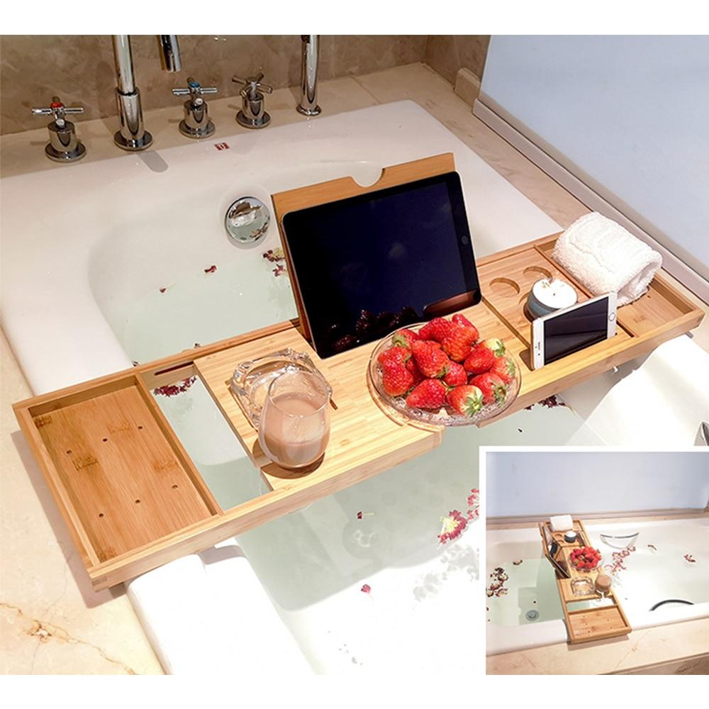 Extendable Bamboo Bathtub Tray Caddy Bath Tray Wooden Bath Organizer Rack Bathroom Book Wine Tablet Holder Reading Shelf