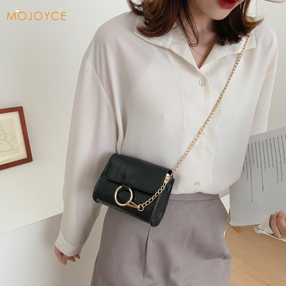 Simple PU Leather Chain Shoulder Messenger Shoulder Clutch PU Leather Female Shoulder Crossbody Bags Solid Alligator Pattern