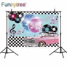 Funnytree photocall fotografie muziek luxe auto Disco 90 party Zwart wit plaid achtergrond photophone camera foto achtergrond