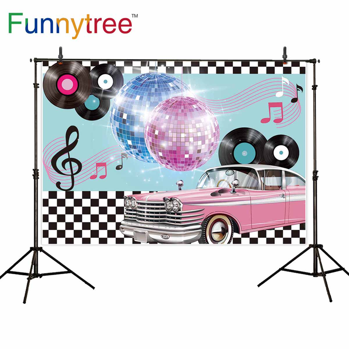 Funnytree photocall photography music luxurious car Disco 90 party Black white plaid backdrop photophone camera photo background image