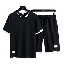 2020 модный спортивный костюм с круглым вырезом футболка короткими