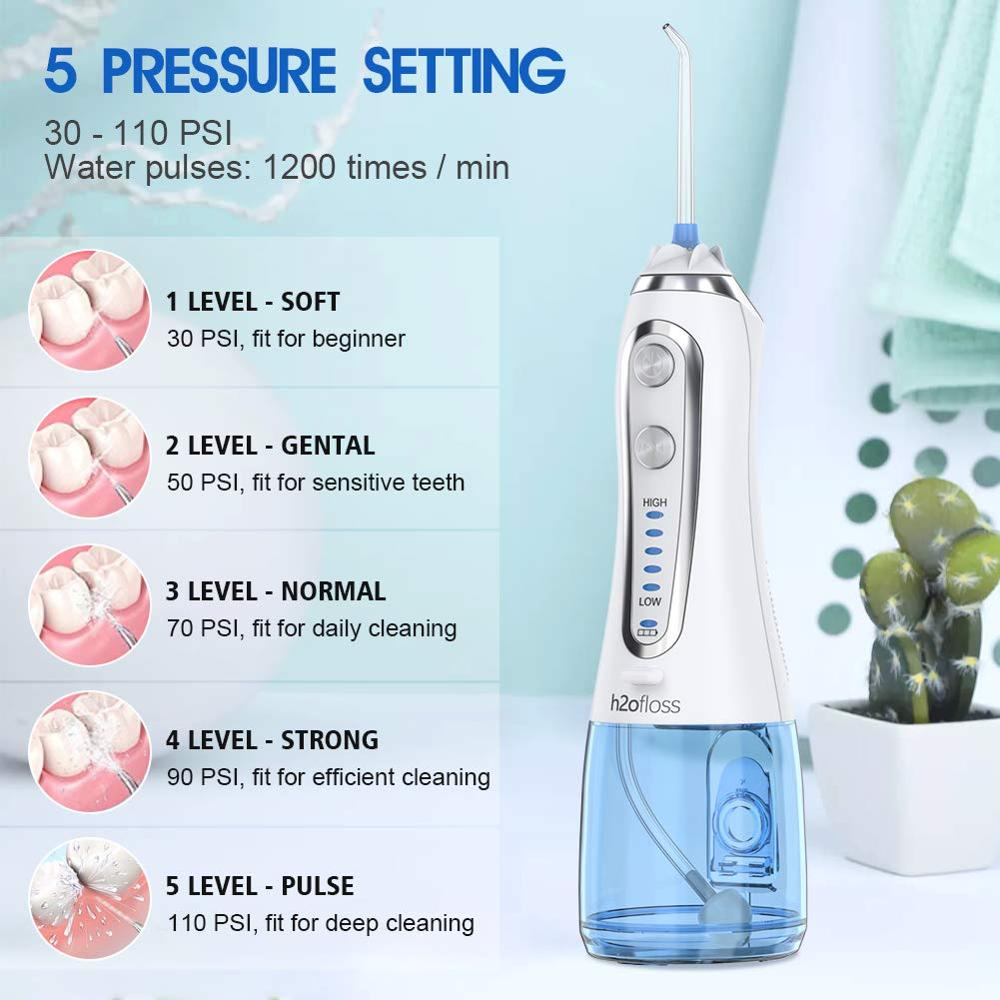 5 Modes Oral Irrigator USB Rechargeable Water Floss Portable Dental Water Flosser Jet 300ml Irrigator Dental Teeth Cleaner+5 Jet 5