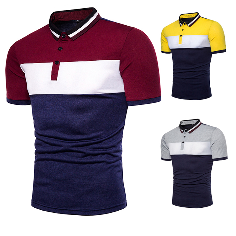 Men Short Sleeve Polo Chest Three Stripe Color Matching Fashion Collocation Cross-border Lapels, Men Short Sleeve Polo Shirt