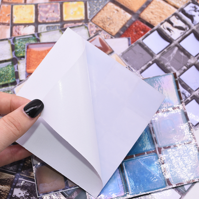 10*10cm Mosaic Self Adhesive Tile Wall Stickers Vinyl Bathroom Kitchen Home Decoration DIY PVC Stickers Decals Wallpaper 10pcs 3