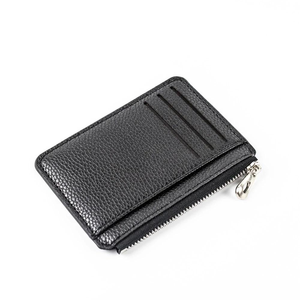 Slim Wallet Purse PU Leather Women Men Card Holder Unisex Zipper Business Card Case Credit Mini Bank Cards Holder Gift Wallet