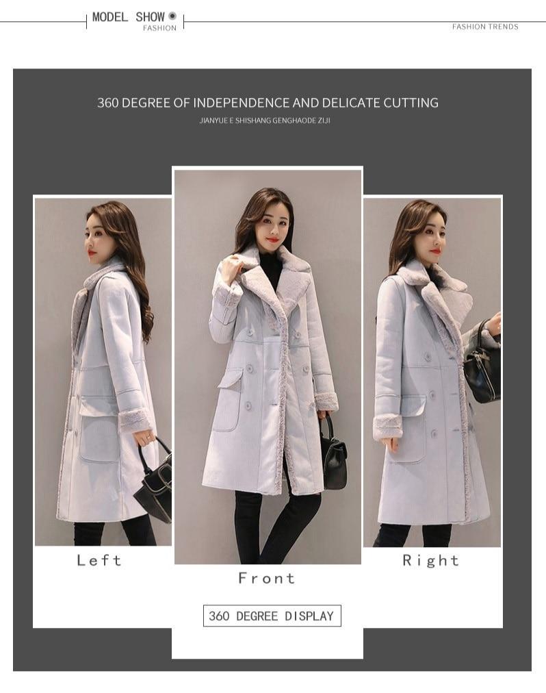 Women Suede Fur Winter Coat 18 Fashion Thick Faux Sheepskin Long Jacket Overcoat Lapel fleece windbreaker