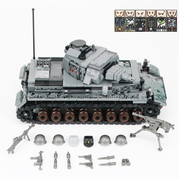 WW2 Military Germany IV Tank Building Blocks WW2 Military Tank Army Soldiers Figures Weapon parts Bricks Toys for Children Gift 21pcs machine gun moc weapon pack military accessories blocks city police ww2 soldiers figures bricks parts compatible legoed