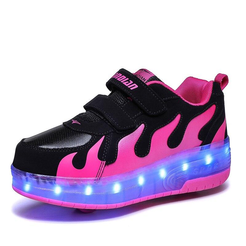 Kids Wheel Shoes Girls Boys led Light up Roller Skate Sneaker Shoes USB recharge