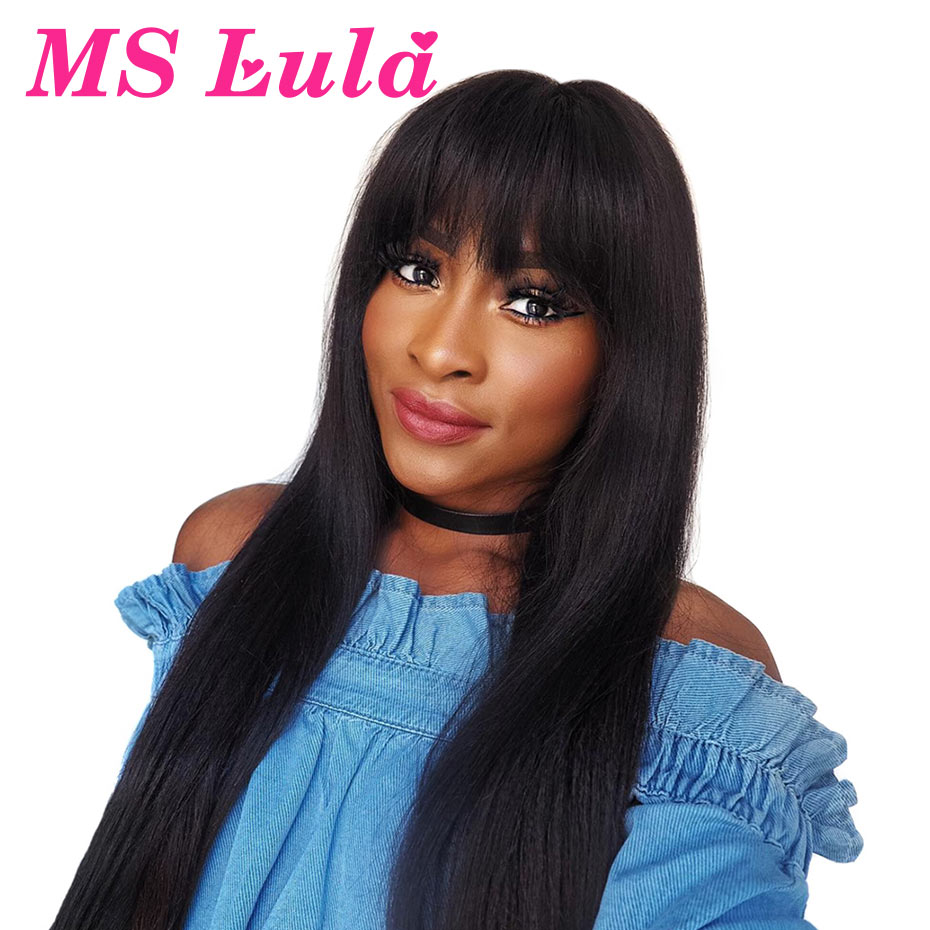 MS Lula 28 30inch Long Straight Lace Front Wig With Bangs Human Hair Wigs For Black Woman 13x4 Brazilian Hair Remy Natural Color