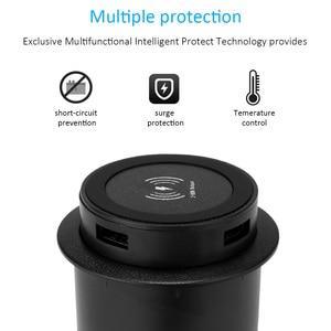 Image 1 - Universal Wireless Charger แบบไร้สาย Qi ชาร์จเฟอร์นิเจอร์เดสก์ท็อปฝังตาราง Pad สำหรับ IPhone Samsung Huawei Mate 20RS P30P