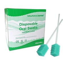 MUNKCARE Oral Swabs Disposable Elderly Mouth Care Cleaning Sponge Swabs Foam Oral Care Swabs Green