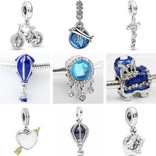 Silver Color Small Car Rabbit Tiger Cup Hearts Alloy Beads Fit Original Pandora Charms Bracelets & Bangles for Women DIY Jewelry(China)