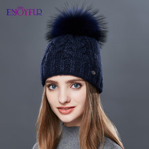 Image 2 - ENJOYFUR Thick Warm Double Layer Women Winter Hats Fashion Coarse Twist Type Knitted Hat Female Fur Pompom Cap Cashmere Beanies