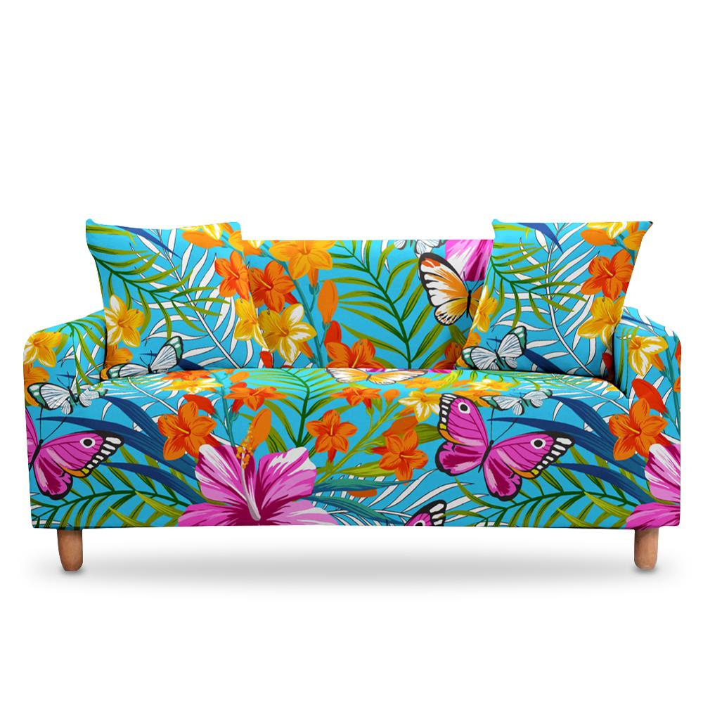 3d Digital Flower Stretch Sofa Cover Elastic 2 3 Seaters Couch Sofa Tropic Leaves Bezug Covers Slip Cover For Living Room Decor Sofa Cover Aliexpress