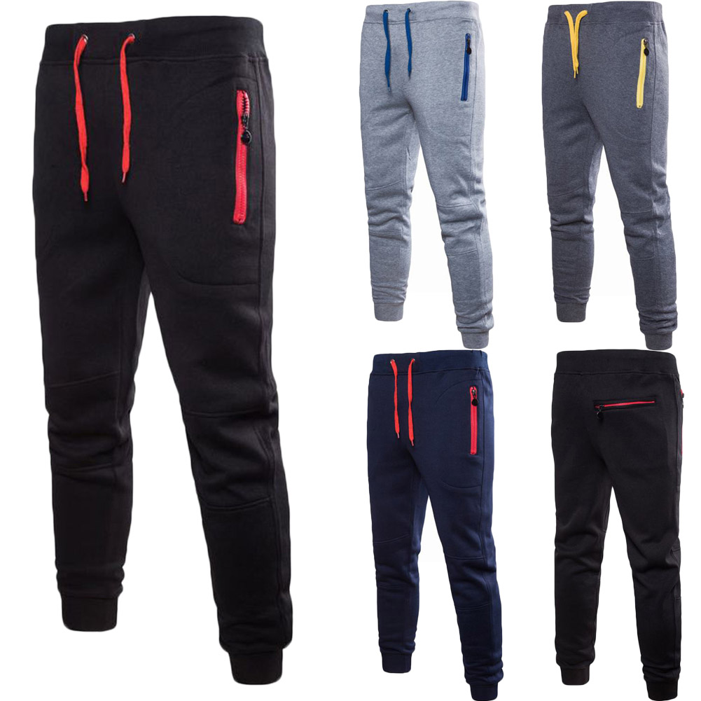 Men New Running Pants Sport Joggers Trousers Black Fitness Gym Clothing With Pockets Leisure Sweatpants Zip Solid Colour
