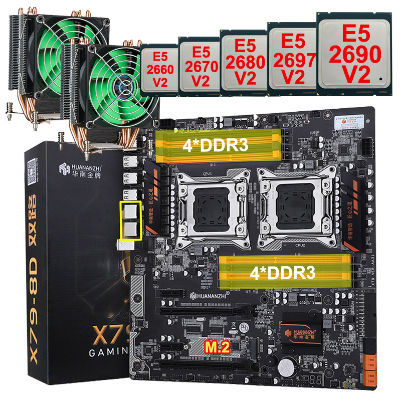 HUANANZHI Dual X79-8D Motherboard With M.2 Slot Discount Brand Motherboard Bundle Dual CPU Xeon E5 2690 V2 RAM 128G(8*16G) 1866