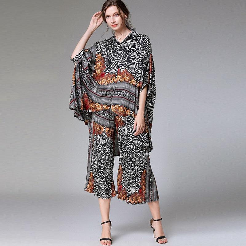 [LANMREM 2020 New Fashion Large Size Plus Size Suit Women Seven Sleeve Batwing Striped Loose Irregular Elastic Wide Leg Pants