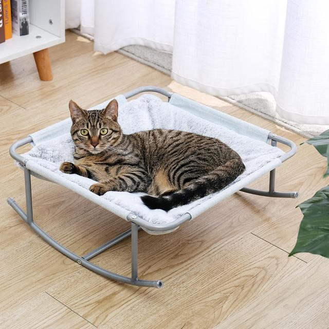 Pet Cat Bed Soft Plush Nest Cat Hammock Detachable Mat Pet Bed with Dangling Ball for Cats Small Dog Squar Tumbler Rocking Chair 4