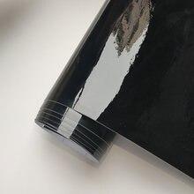 Alta qualidade brilhante vinil carro envoltório filme de vinil gloss preto envoltório bolha livre etiqueta do carro auto decoração filme