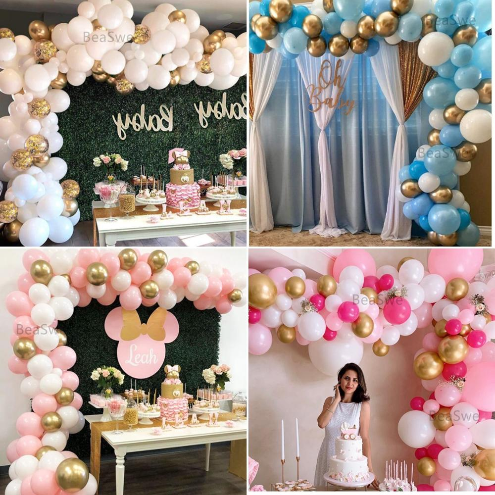 112pcs Balloon Garland Arch Kit 16Ft Long Pink White Gold Latex air Balloons Pack for baby shower birthday party decor supplies.(China)