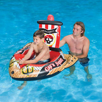 Swimming Pool Inflatable Boat with Water Gun Floating Row Children Playing Water Toy Air Motor Boat Inflatable Pirate Ship professional 4 3 3m water climbing iceberg cheap inflatable water iceberg for water playing