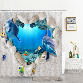 Shower Curtains Ocean Dolphin Sea World Animal Waterproof Fabric Bathroom Shower Curtain Cute Fishes large Size 240X180 Screen image