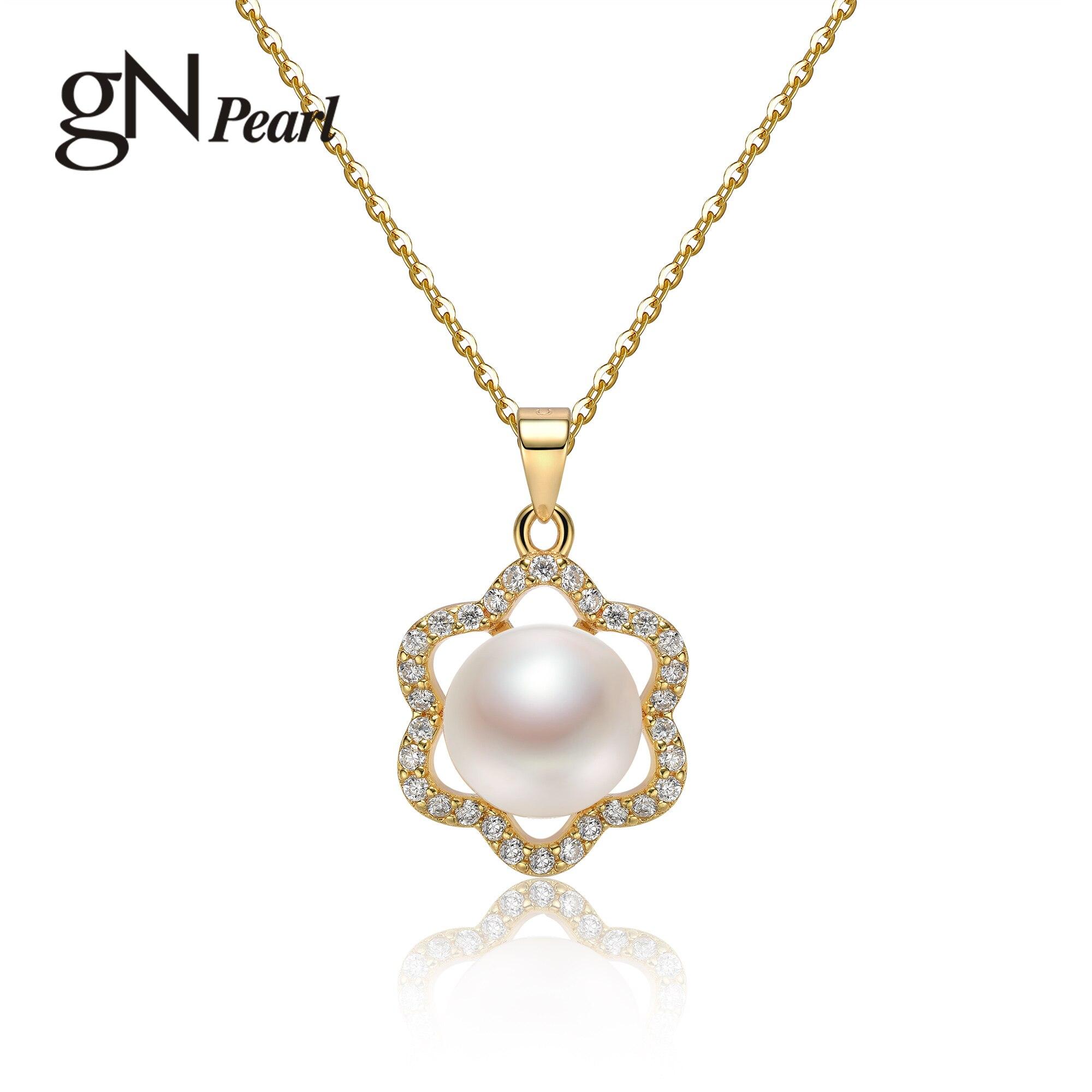 Gn pérola branco de água doce natural 8-9mm pérola pingentes colares 925 prata banhado a ouro flor zircônia gargantilha corrente gnpearl