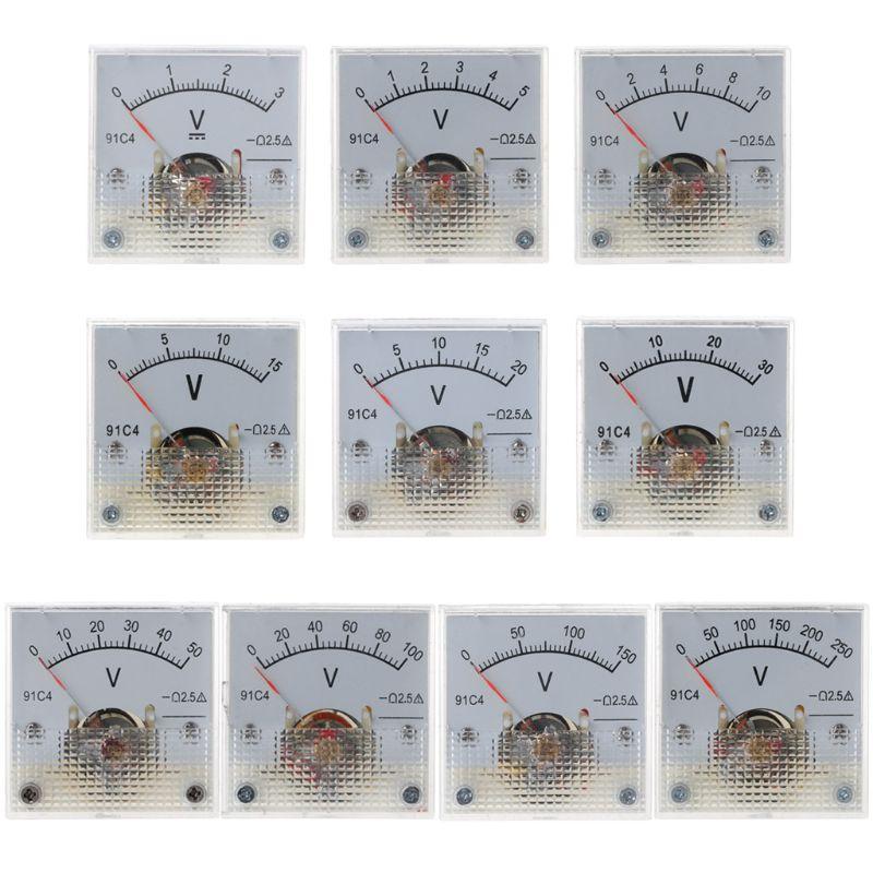 91C4 DC Voltmeter Analog Panel Voltage Meter Mechanical Pointer Type 3/5/10/15/20/30/50/100/150/250V