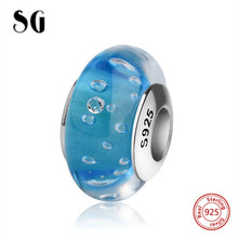SG blue Murano glass beads silver 925 diy charms with sparkling water drops fit authentic pandora bracelets jewelry making gift цена