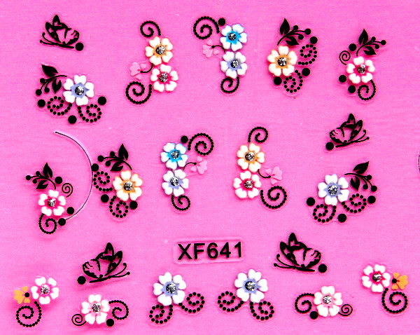XF 5D Relief Nail Sticker Stereo Nail Sticker XF641
