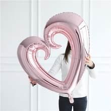 1 шт 40-дюймовый крюк в форме сердца воздушный шар Гелиевый шар Свадьба День святого Валентина украшение день рождения ГОГО сердце Фольга Воз...