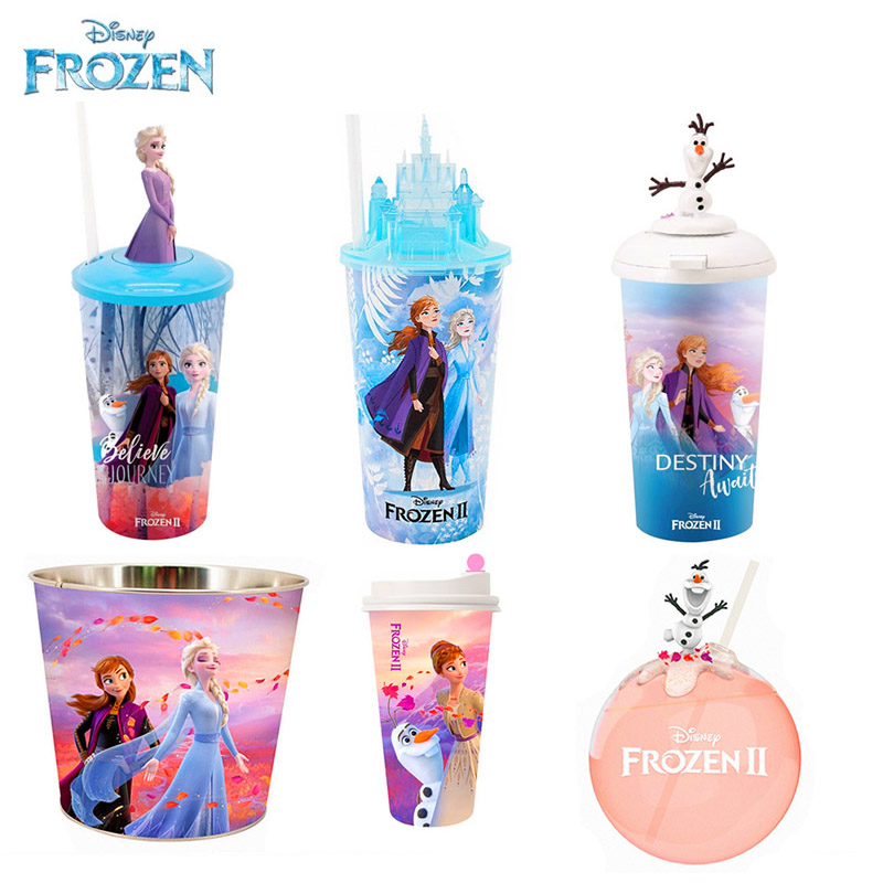 Original Disney Frozen 2 Cup Toys Elsa Anna Water Cups Anime Movie Frozen 2 Olaf Popcorn Barrel Christmas Gift For Children Kids
