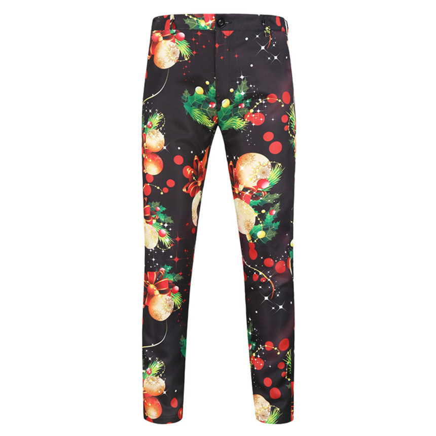 KLV Pants Men's Autumn Winter Slim Fit Trousers Holiday Casual Pants Christmas New Year Pants Leafs And Flowers Printing Pants