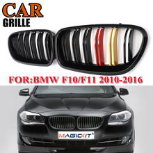 цена на MagicKit Front Black Car Kidney Grille German Auto Racing Grill For BMW 5-Series F10/F11/F18 5-Series M5 2010-2015 DUAL SLAT
