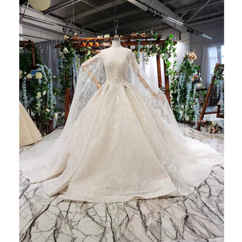 BGW HT41720 Luxury Wedding Gowns Ball Gown O Neck Sleeveless Sequined Pleat Lace Wedding Dress With Cape Vestidos De Novia 2019