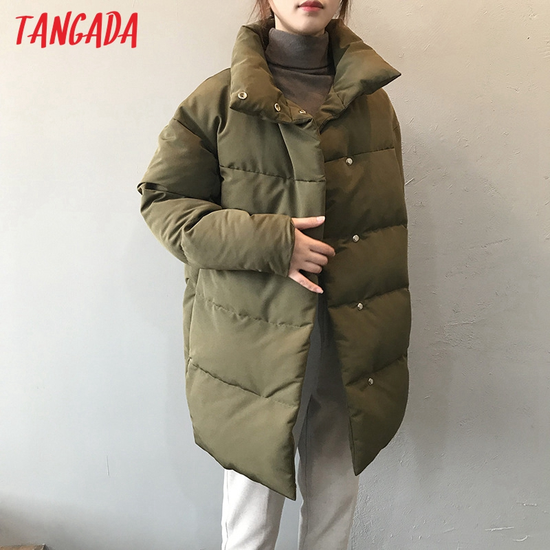 Tangada Women Amy Green Oversize Long Parkas Thick 2020 Winter Long Sleeve Buttons Pockets Female Warm Coat ASF73|Parkas| - AliExpress