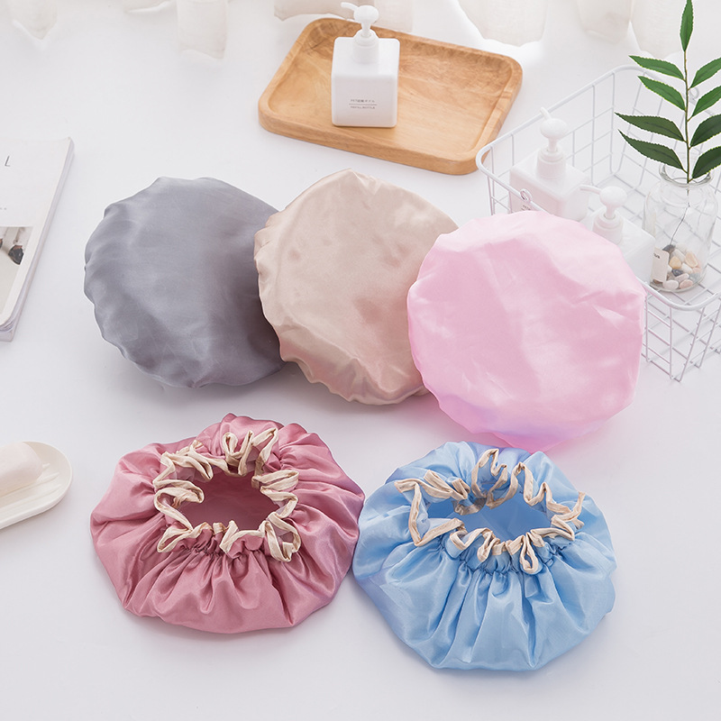 1pcs Women Shower Satin Hats lorful Bath Shower Caps Hair Double waterproof Bathing Cap Bathroom Accessories in Shower Caps from Home Garden